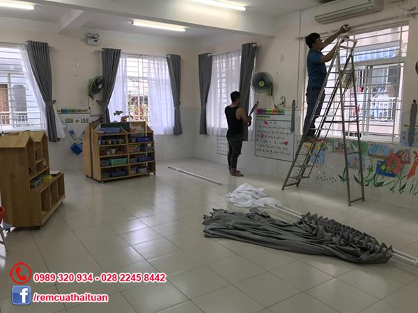 Thi công rèm cửa trường mầm non Rạng Đông quận 6 TpHCM