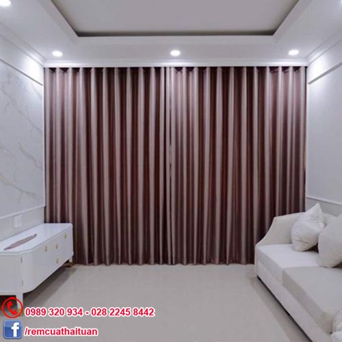 Rèm cửa sổ đẹp hiện đại vải gấm Solid màu hồng Gold
