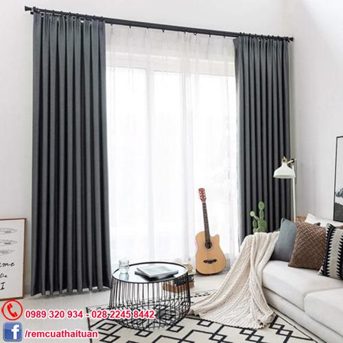 rèm cửa sổ vải Solid màu xám