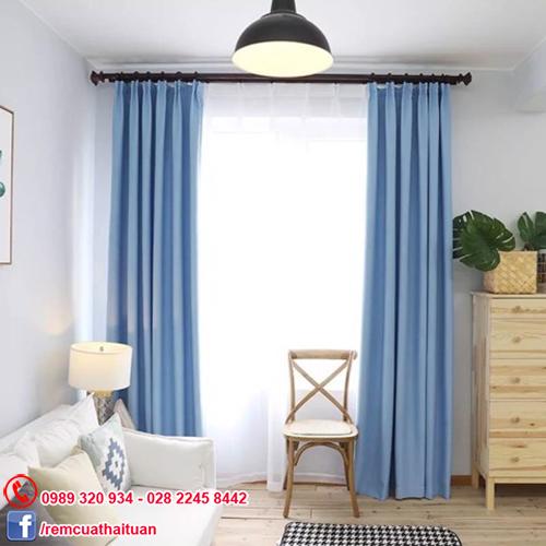 Rèm cửa sổ phòng khách vải gấm Solid màu xanh dương